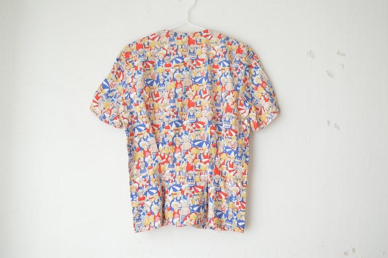 vintage novelty print sailor beach buttoned short sleeves shirt blouse 70s  M
