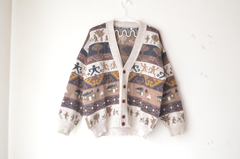 alpaga laine marron rayé navajo nouveauté du Sud-Ouest nouveauté navajo knit cardigan des années 70 / / L 85b76d