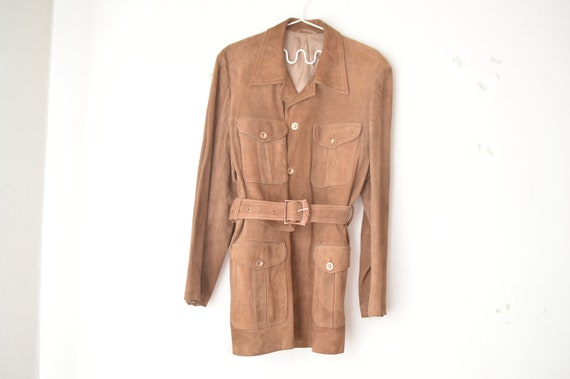 vintage tan brown suede leather jacket trench coat