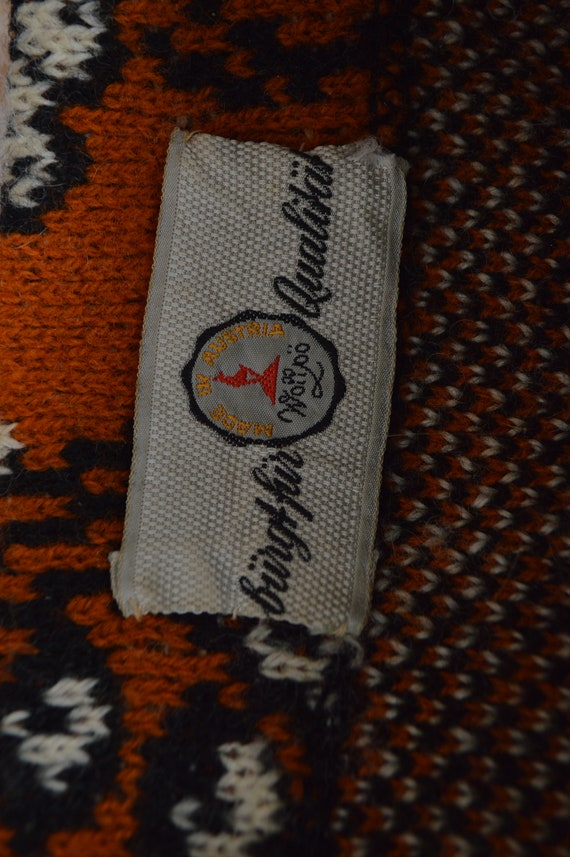 vintage burnt orange and black floral ornament wo… - image 5