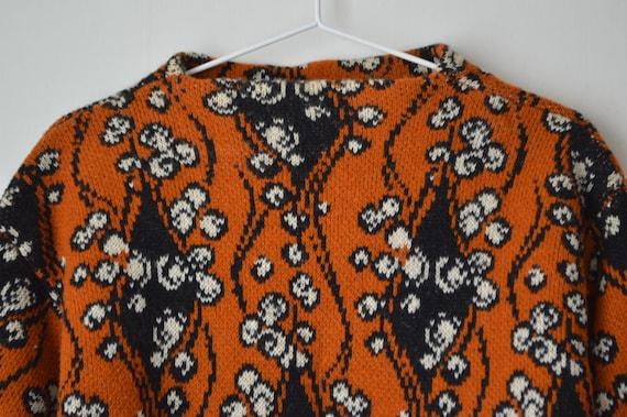 vintage burnt orange and black floral ornament wo… - image 2