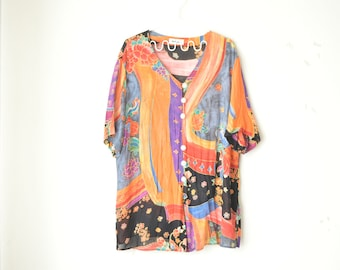 abstract floral print oversized baggy india tunic shirt 70s // L-XL