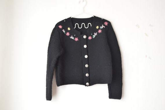 Vintage 1940s Trachten Sweater Floral Embroidered Cardigan Jumper 50s S M