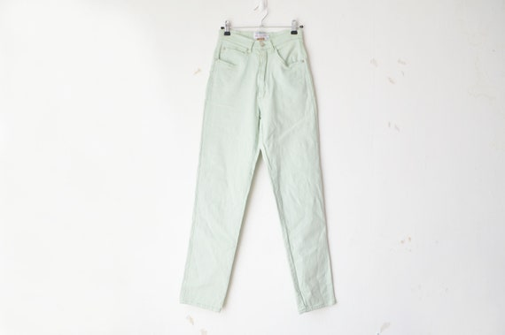 vintage mint green high waist tapered leg slim fit