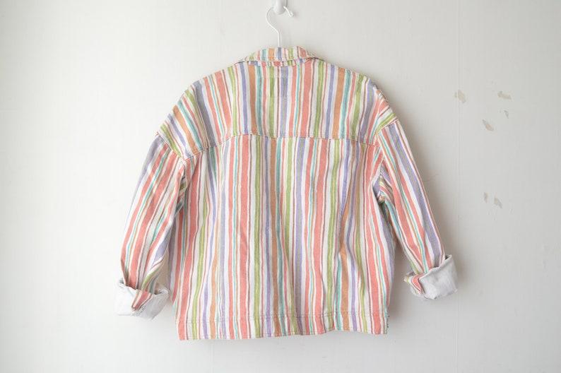 vintage pastel striped oversized baggy fit grunge denim jeans jacket 80s  L