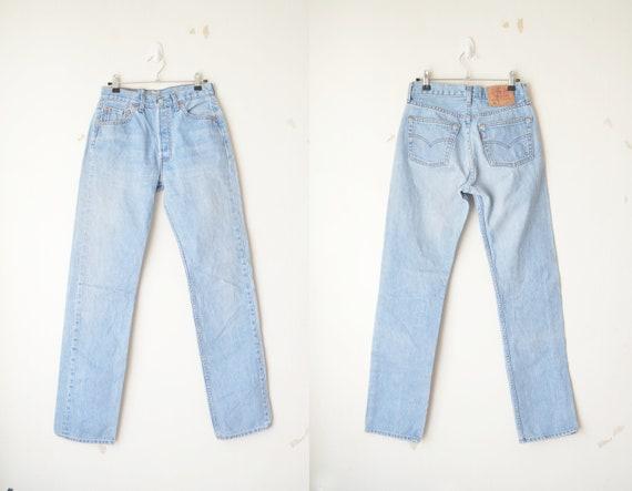 260a6c73 Vintage Levi's 501 Light Washed Button Fly High Waist Mom Boyfriend Jeans  // W29 L34