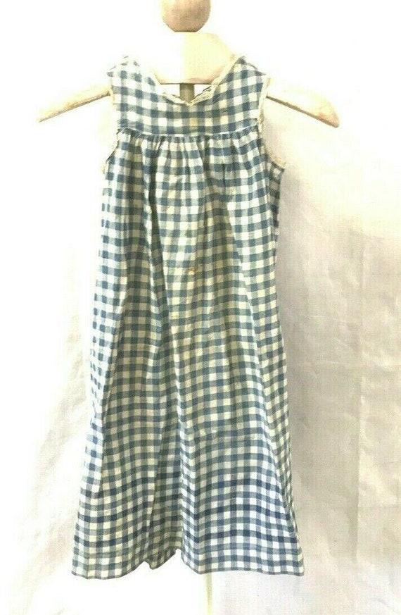 Vintage Girls Blue Gingham Homespun Apron Dress Co