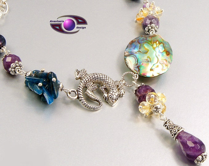 Amethyst Freshwater Pearl Citrine Kyanite Abalone  Gemstone Necklace Bracelet Transformer