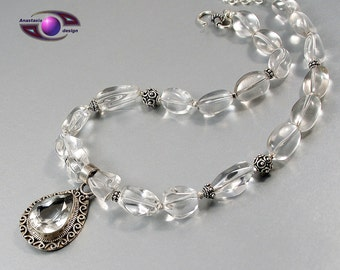 Bergkristall Halskette Antik 925 Silber
