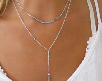 Turquoise Beads & Silver Necklace Set, Sterling Silver Necklace Set, Set Of 2 Silver Necklaces, Layered Silver Lariat Necklace Set,