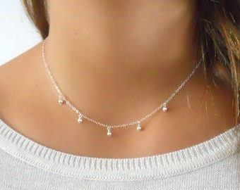 Delicate Sterling Silver Necklace, Silver Charms Necklace, Silver Choker Necklace, Layered Silver Necklace, Layering Beads Necklace, #304