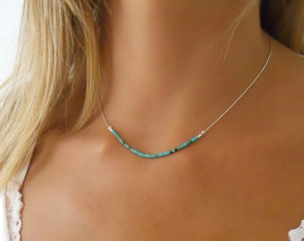 Sterling Silver Necklace With Turquoise Beads,  Delicate Silver Necklace,  Layering Silver necklace, Turquoise Bar Silver Necklace.