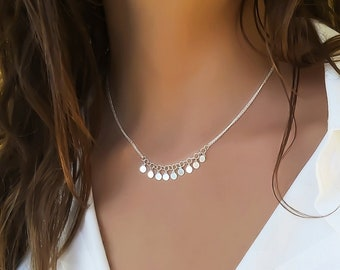 Silver Boho Necklace, Disc Necklace, Sterling Silver Necklace Women, Dainty Silver Necklace, Bohemian Necklace, Coin Necklace, annikabella