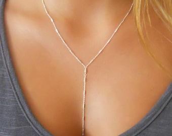 Delicate Silver Y necklace, Silver Lariat Necklace, Silver Necklace, Layered Y Necklace, Sterling Silver Necklace, Y Silver Necklace