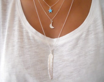 Silver Feather Long Necklace. Layering Silver Necklace. Sterling Silver Necklace.
