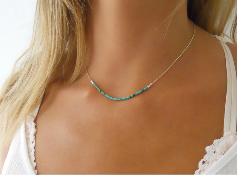 Sterling Silver Necklace With Turquoise Beads  Delicate image 0