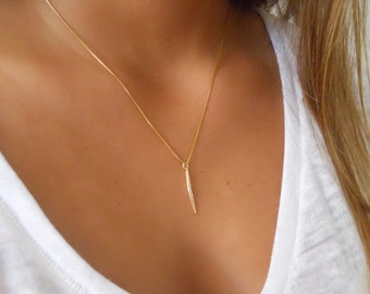 Delicate Gold Spike Necklace; Gold Filled Spike Necklace ; Minimal Gold Necklace ; Layering Gold Necklace; Spike Necklace