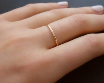 Thin Gold Filled Ring, Skinny Gold Ring, Minimal Round Gold Ring, Stacking Ring, Simple Gold Ring, Midi Gold Filled Ring