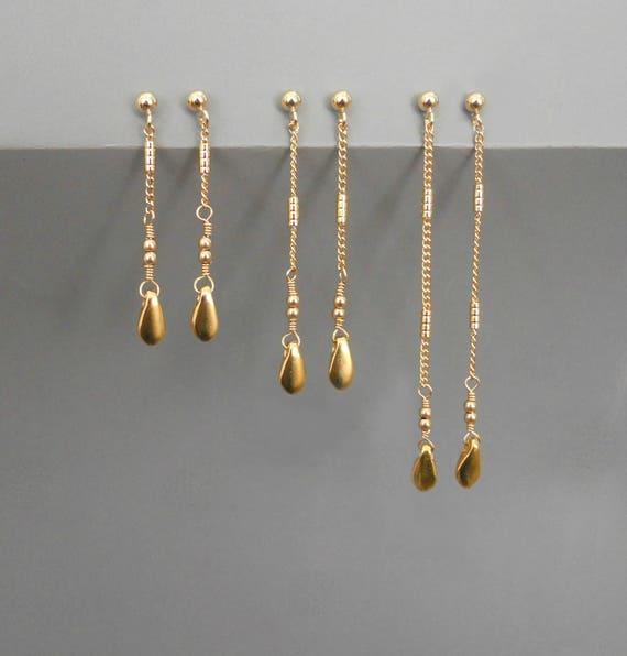 Delicate Gold Dangling Earrings Gold Dangling Earrings Long  df2470d28ff4