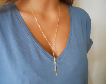 Minimal Gold Lariat Necklace, Long Gold Necklace, Delicate Gold Filled Lariat Necklace, Dainty Lariat Necklace