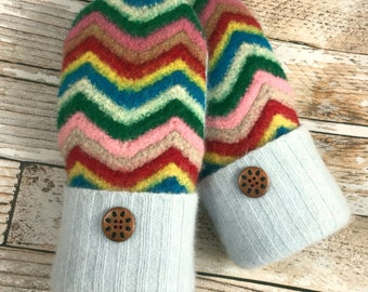 Sweater Afghan Mittens - Super Warm!  upcycled, felted wool and DOUBLE lined granny hippy rainbow