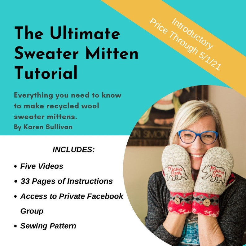 The Ultimate Sweater Mitten Tutorial  5-Videos 33-pages and image 0
