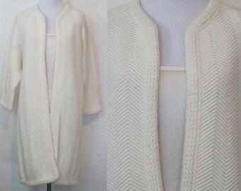 1960s 1970s Cream Knit Open Cardigan Sweater S/M/L