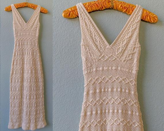 Cream Ivory White Crochet V-Neck Dress 1970s 1960s