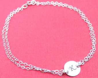 Sterling Silver Layering Bracelet With Personalized Disc Hand Stamped Jewelry Initial Bracelet Friendship Bracelet