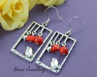 Bird Earrings,Silver Bird Earrings,Bird Jewelry,Coral Earrings,Red Coral Earrings,Silver Earrings,Charm Earrings