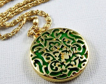 Disc Necklace,Gold Filigree Necklace,Pendant Necklace,Long Gold Necklace