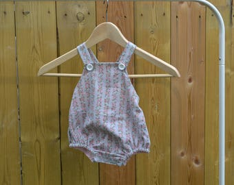 Little Darling - pink floral bubble romper with light pink lining (can be reversible), vintage inspired, baby romper