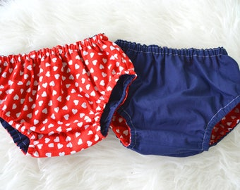 Vintage Valentine's Day Reversible Bloomers, diaper cover, 3-6 months, 6-12 months, 12-24 months, baby, toddler, nappy cover, ready to ship