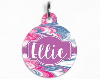 "Pet ID Tag | ""Ellie"" - Cotton Candy Marble Swirl"