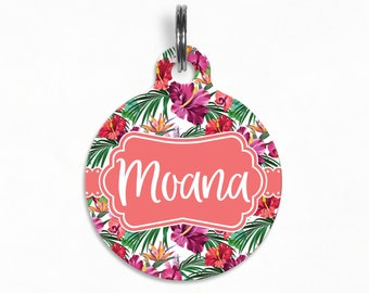 "Pet ID Tag | ""Moana"" - Hawaiian Hibiscus Bliss"