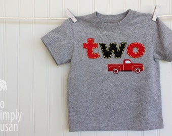 2nd birthday outfit, boys birthday shirt, red retro truck t, 2nd bday shirt, gray red black, one two applique, hand stitched, boy 1st bday