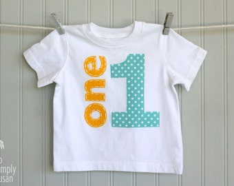 boy first birthday shirt, big number 1 shirt, hand stitched one shirt, aqua first birthday, boy one shirt, gray yellow aqua, aqua dot 1 tee