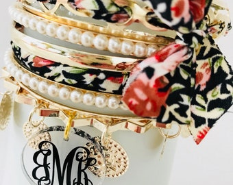 Monogrammed Bracelet Set with Fabric Bow Accent