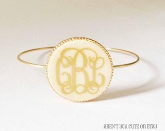 Monogrammed Gold Toned Bangle Bracelet