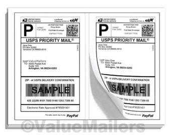 100 Half Sheet 8.5 x 5.5 Internet Shipping Labels BLACKOUT Technology Fast Peel