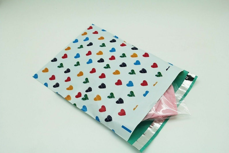 200 Bags 100 10x13 Blue Hearts,100 10x13 Green Designer Poly Mailers Envelopes