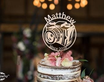 Photographer wooden cake topper, Camera cake topper, topper for birthday, cake topper for influencer. youtuber gift