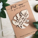 Wooden Monstera Deliciosa Save The Date Fridge Magnet Engraved Rustic Tropical Garden Wedding Gift invitation or Bridal Shower