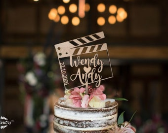 Movie clapper board wooden cake topper, Movie theme wedding cake topper, topper for birthday, cake topper for influencer. youtuber gift
