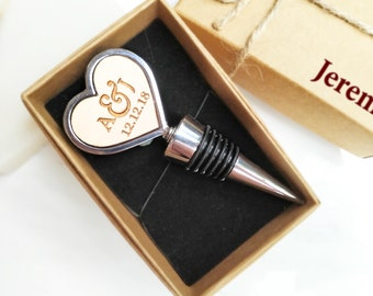 Initials Heart Shape Silver Wine Bottle Stopper, Personalized gift box, Wedding gift for couple,Anniversary gift for husband,Valentines gift