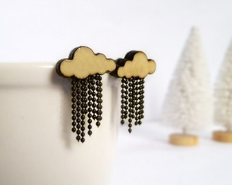 Raining Cloud Earring Wooden Stud Rain drops earring Birthday Wedding Mother's day Gift BFF Bridesmaid Maid-of-honor Mother of Groom