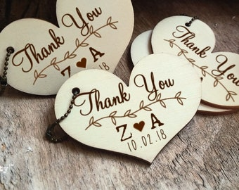 6cm Wooden heart gift tag Personalized Engraved Thank you tag Wedding Gift Tags Wedding Party Bridal shower Hen's night Anniversary Favor