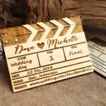 Save The Date Wooden Movie Clapper Board Fridge Magnet Engraved Rustic Invitation For Movie Theme Wedding