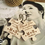 Puzzle Wooden tag Personalized Engraved Thank you Wedding Gift Tags Favor Favour Embellishment Pack of 30/ 50/ 80/ 100