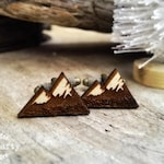 Snow Mountain Wooden Cufflinks Camping Hiking Dad Grooms Best man Groomsman Rustic Wedding Birthday Gift Cuff links